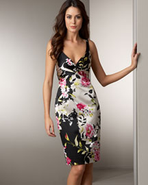 David Meister Floral-Print Charmeuse Dress