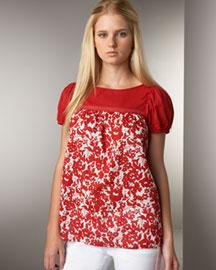 Velvet Floral-Print Top- For Her- Neiman Marcus