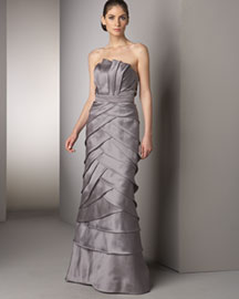 Badgley Mischka Platinum Label Pleated Silk Gown -  New Arrivals -  Neiman Marcus :  platinum label nm silk grey