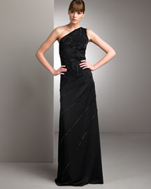 Badgley Mischka Platinum Label Asymmetric Crepe Gown -  One-Shoulder Trend -  Neiman Marcus :  woman neiman marcus one-shoulder