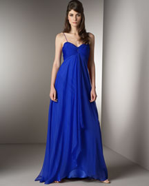 Badgley Mischka Platinum Label Fly-Away Iridescent Silk Gown