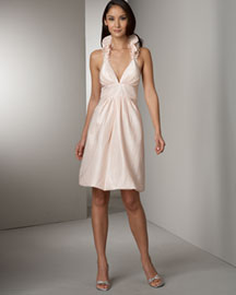 Kay Unger New York Ruffled-Halter Taffeta Dress