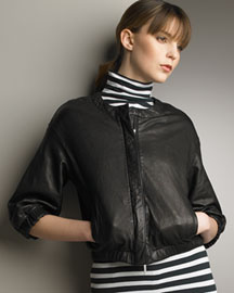 Vince Cropped Leather Jacket -  Jackets -  Neiman Marcus