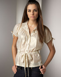 What Comes Around Goes Around Button-Front Metallic Top -  Sleeves -  Neiman Marcus
