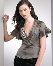 Nanette Lepore Love Note Satin Top -  Apparel -  Neiman Marcus :  vacation chloe summer trina turk