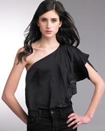 Nanette Lepore One-Shoulder Top- Embellished- Neiman Marcus :  kimono sleeve ramie nanette lepore