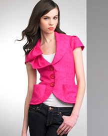 Nanette Lepore Cropped Canvas Jacket -  Color -  Neiman Marcus :  color fun womens clothing canvas