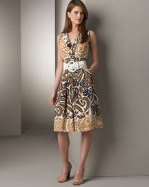 Kay Unger New York Belted Silk Dress -  Sleeveless -  Neiman Marcus :  floral dress retro summer