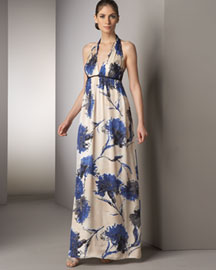 Kay Unger New York Printed Silk Gown- Neiman Marcus