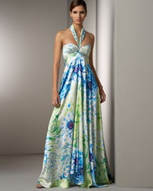 Marc Bouwer Glamit! Silk Floral Gown -  Marc Bouwer Glamit! -  Neiman Marcus :  floral gown dress maxi