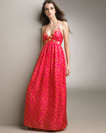 Milly Printed Silk Gown -  Dresses -  Neiman Marcus :  chic women neiman empire waist