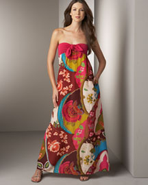 Dallin Chase            Lou Printed Gown -   		Apparel - 	Neiman Marcus :  floral silk cotton dress