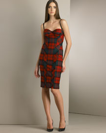 D&G Dolce & Gabbana Stretch Wool Tartan Bustier Dress -  Women's -  Neiman Marcus :  wool dolce gabbana dg pencil