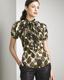 Just Cavalli Chiffon Blouse -  Women's -  Neiman Marcus :  puffed cheetah just cavalli print