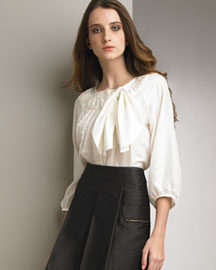 See by Chloe Bow Blouse -  See by Chloe -  Neiman Marcus :  tiered silk skirt by mini skirt bow
