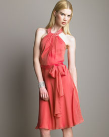 Carmen Marc Valvo Beaded Silk Dress
