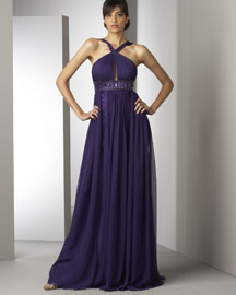 Marc Bouwer Glamit! Beaded-Waist Gown
