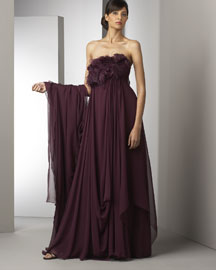 Marchesa Couture Silk Chiffon Gown