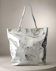 Tory Burch             Crinkled Metallic Tote-     Neiman Marcus       :  designer accessories silver neiman marcus