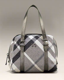Burberry Shimmer Check Bowler -  Women's -  Neiman Marcus :  chic silver women canvas