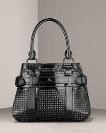 Burberry Studded Patent Tote -  Handbag Collection -  Neiman Marcus