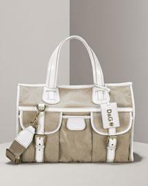 D&G Dolce & Gabbana Linen & Patent Tote- Handbags- Neiman Marcus :  structural handbag patent bowler dolce