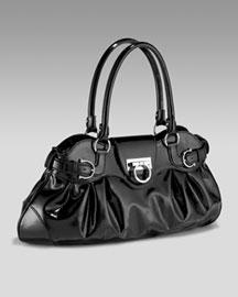 Salvatore Ferragamo Large Capra Vernice Satchel- Fashion Collection- Neiman Marcus