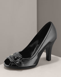 Fendi            Patent Peep-Toe Pump -   		Fendi - 	Neiman Marcus :  covered buckle turquoise italy antiqued brass