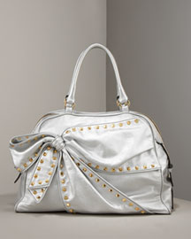 Valentino Laminated Vitello Bow Tote -  Handbags -  Neiman Marcus