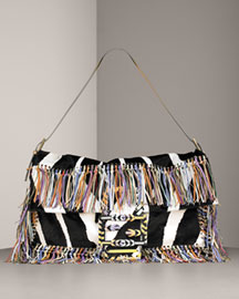 Fendi Hair Hide Fringe Baguette, XL -  Accessories -  Neiman Marcus :  luxe hobo satchel vintage