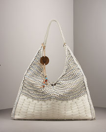 True Religion Serena Woven Leather Hobo