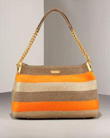 Eric Javits Squishee Striped Shoulder Bag, Bark/Orange- New Arrivals- Neiman Marcus