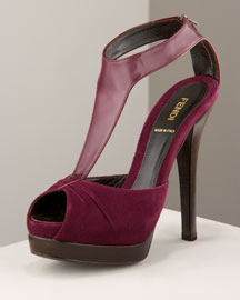 Fendi Peep-Toe T-Strap -  Fall Collection -  Neiman Marcus