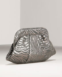 Gray/silver metallic zebra print Italian leather. Framed top; pleated body. Lurex® bengaline lining. 5 1/2