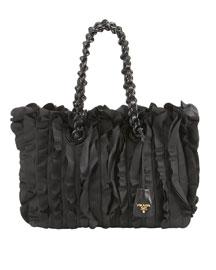 Ruffled Chain-Strap Tote- Neiman Marcus :  handbag chain black prada