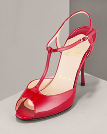 Christian Louboutin Patent T-Strap Sandal- Christian Louboutin- Neiman Marcus from neimanmarcus.com