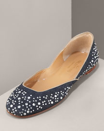 Valentino Crystal Ballerina, Denim -  Shoes -  Neiman Marcus