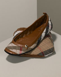 Burberry Quilted House Check Travel Slippers & Storage Bag, Tan