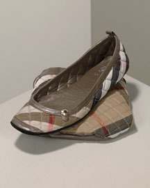 Burberry Quilted House Check Travel Slippers & Storage Bag