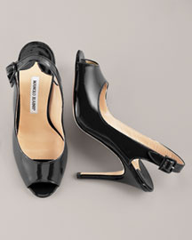 manolo blahnik Buckled Patent Slingback -  Fall Collection -  Neiman Marcus :  manolo blahnik heels score shoes