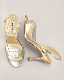 Manolo Blahnik Metallic Sandal -  Sandals -  Neiman Marcus :  shoes metallic gold acrylic