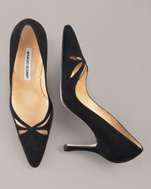 manolo blahnik Suede Cutout Pump -  Fall Collection -  Neiman Marcus :  pointed toe butterfly heels shoes