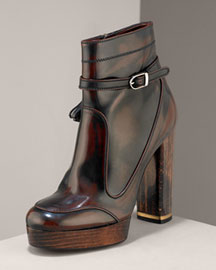 Stella McCartney Buckled Leather Bootie -  Shoes -  Neiman Marcus
