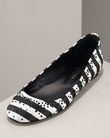 Valentino Crystal Satin Ballet Flat, Striped -  Shoes -  Neiman Marcus