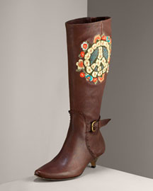 Isabella Fiore Embroidered Boot -  Shoes -  Neiman Marcus :  leather heels chcolate boots