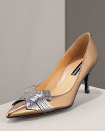 Claudia Ciuti Bow Pump -  Closed Toe -  Neiman Marcus :  bow gold metallic metallic leather pumps bow pump