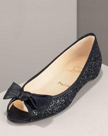 Christian Louboutin             Legionana Glitter Flat-     Accessories-  Neiman Marcus       :  glitter neiman marcus flat silver