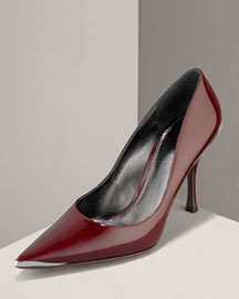 Dolce & Gabbana Patent Pump with Steel Toe Detail