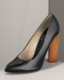 Yves Saint Laurent Charlotte Pump -  Premier Designer -  Neiman Marcus :  black patent leather ysl yves saint laurent