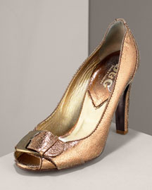 D&G Dolce & Gabbana Metallic Open-Toe Pump -  Designer -  Neiman Marcus :  designer shoes premier designer deisgner shoes metallic shoes